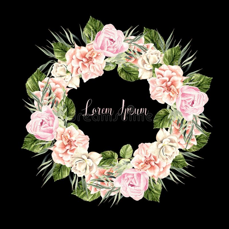 Beautiful Watercolor Wedding Wreath with roses and peony. Illustration royalty free illustration
