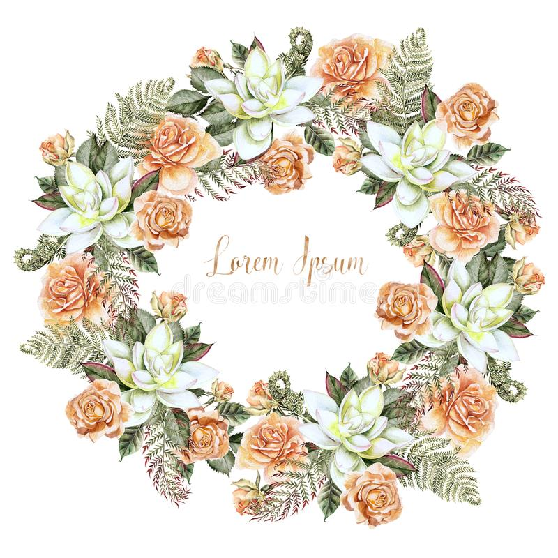 Beautiful Watercolor Wedding Wreath with roses and succulent. Illustration royalty free illustration