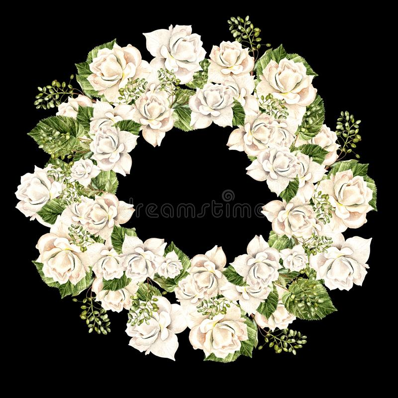 Beautiful Watercolor Wreath with white roses. Illustration stock illustration