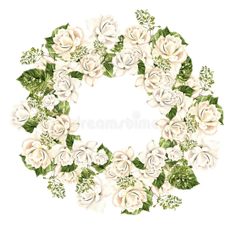 Beautiful Watercolor Wreath with white roses. Illustration royalty free illustration