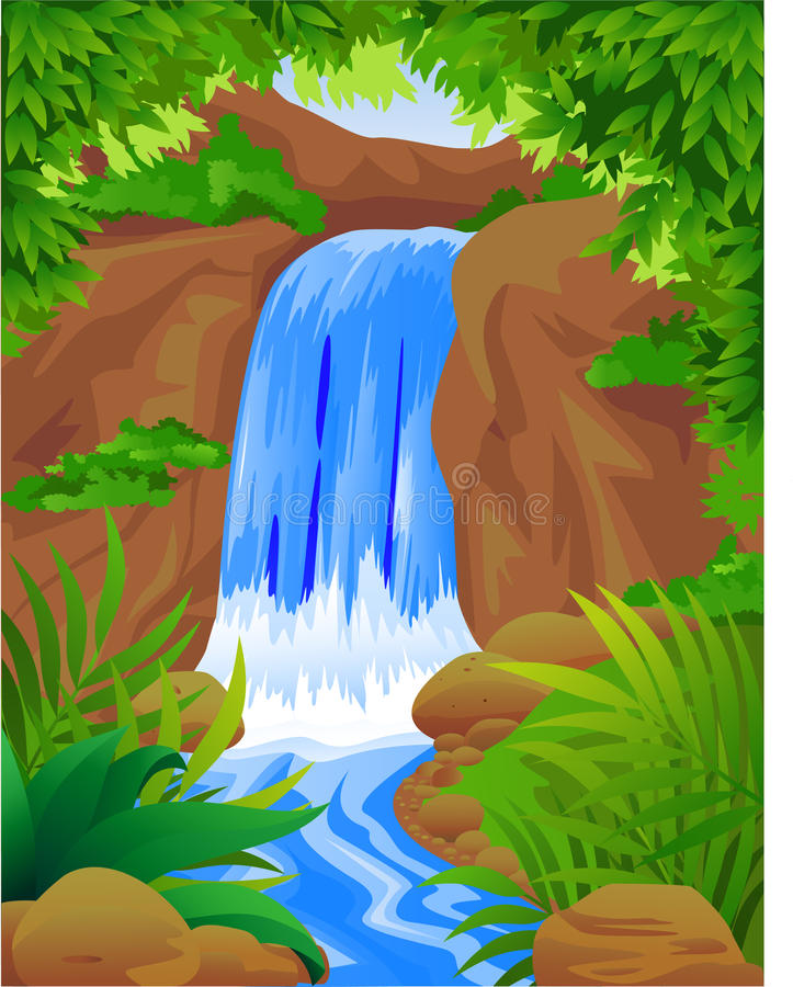 Download Beautiful waterfall stock vector. Image of ecology, fresh - 14193571
