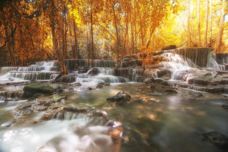 Beautiful waterfall in autumn forest, deep forest waterfall, Kan stock photography