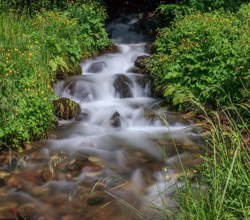 Beautiful waterfall with cascade in Serbia stock photography