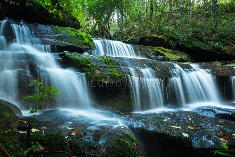 Beautiful waterfall in deep jungle, Tum Yai Waterfall`s. Located Phu Kra Dueng National Park, Loei Province, Thailand royalty free stock photos