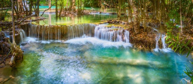Beautiful waterfall Huai Mae Khamin, Thailand. Panorama. Beautiful waterfall Huai Mae Khamin at Kanchanaburi Province in west Thailand. Panorama stock photos