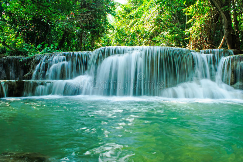 Beautiful waterfall, Huay mae Ka Min waterfall in Thailand royalty free stock photography