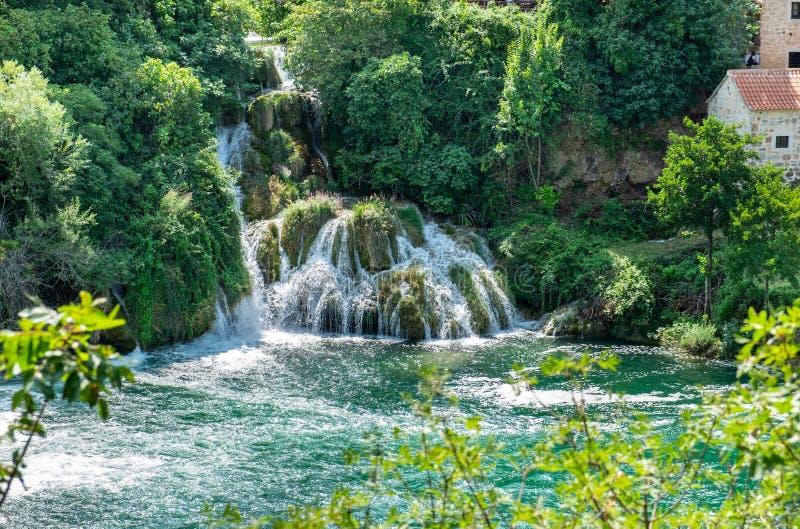 Beautiful waterfall at Krka National Park stock photo