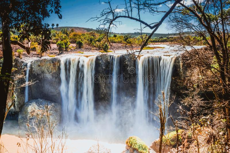 Beautiful waterfall in Lam province. Vietnam. South East Asia royalty free stock image
