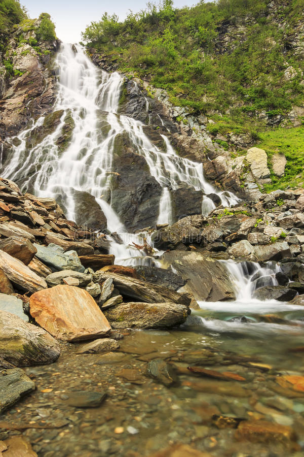 Beautiful waterfall in the mountains,Balea cascades,Fagaras mountains,Carpathians,Romania. The famous Balea cascades in the mountains,Fagaras mountains stock images