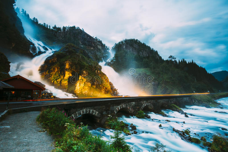 Beautiful waterfall in Norway. Amazing Norwegian nature landscap. Beautiful famous waterfall Latefoss or Latefossen waterfall in Norway. Amazing Norwegian nature stock photo