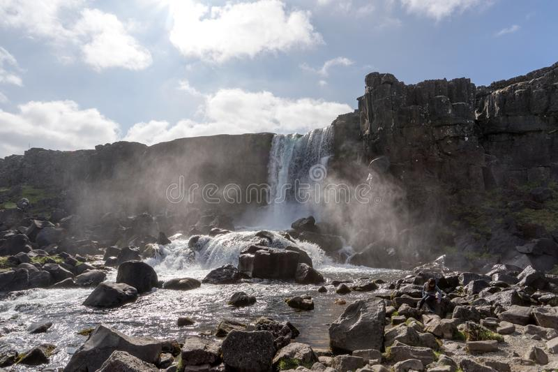 Beautiful waterfall Oxararfoss in Golden Circle, Iceland royalty free stock photos