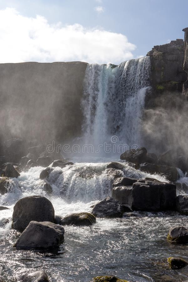 Beautiful waterfall Oxararfoss in Golden Circle, Iceland royalty free stock images