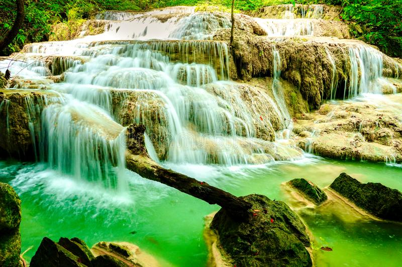 Beautiful waterfall in the rainforest jungle of thailand. Erawan waterfall in Erawan National Park, kanchanaburi,Thailand royalty free stock image