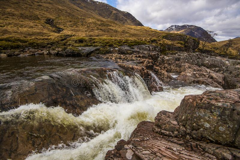 A beautiful waterfall on the River Etive in the Highlands of Scotland royalty free stock photography