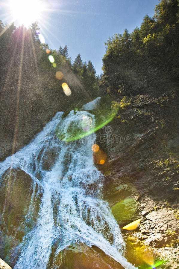 Beautiful waterfall in Romanian mountains stock photos