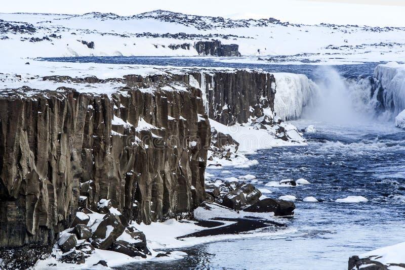 Beautiful waterfall Selfoss in Iceland. Wintertime stock photos
