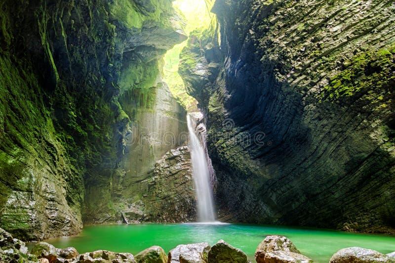 Beautiful waterfall in Slovenia stock image