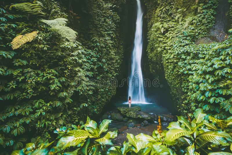 Beautiful waterfall with tropical plants and woman traveller in Bali, Indonesia royalty free stock photography
