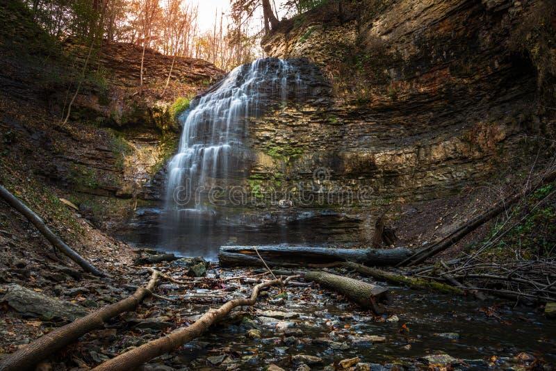 Beautiful Waterfall on a Winter Day. Beautiful Tiffany Falls on a Winter Day. Niagara Escarpment, Hamilton, ON, Canada royalty free stock photo