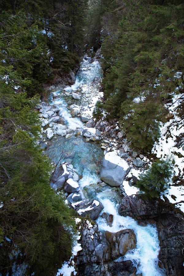 Beautiful waterfall Wodogrzmoty Mickiewicza in Polish Tatra mountains near Zakopane Im Poland stock photo
