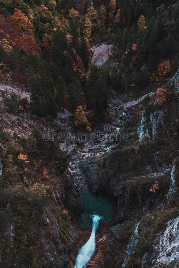 """View from the Marienbrücke above the waterfall. This beautiful waterfall you can find near the Castle """"Neu Schwanstein"""". The picture was taken stock image"""