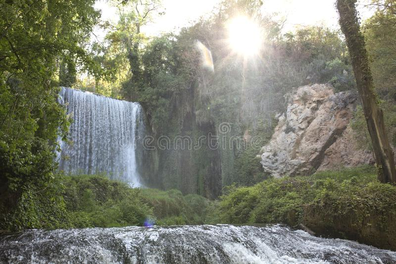 Beautiful waterfall in Zaragoza, stone monastery stock photos
