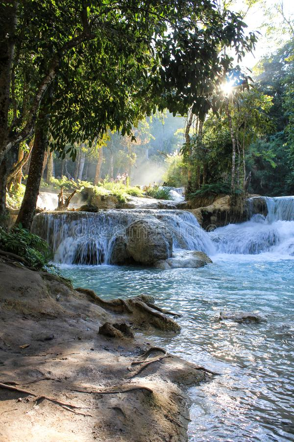 Beautiful Waterfalls blue water Laos stock images