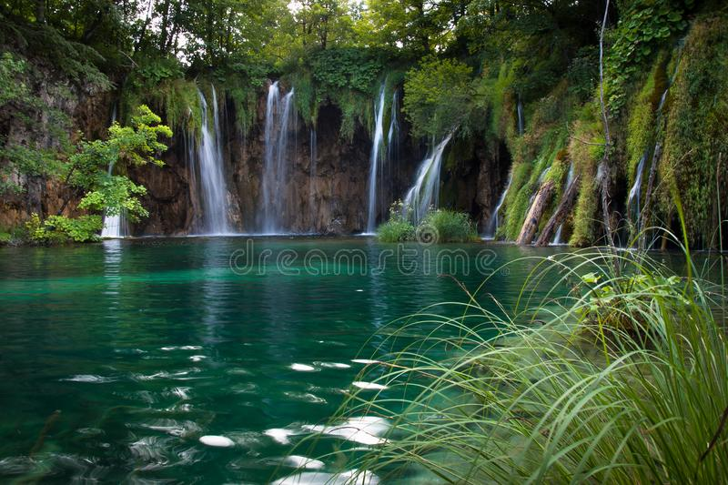 Beautiful waterfalls and lake, Plitvice Lakes, National Park, Forest, Croatia. Waterfalls in National park of Plitvice Lakes situated in Northern Croatia stock photography