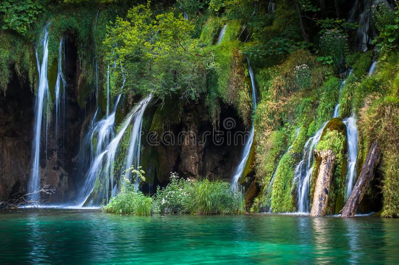 Beautiful waterfalls and lakes, Plitvice Lakes, National Park, Forest, Croatia. Waterfalls in National park of Plitvice Lakes situated in Northern Croatia royalty free stock photo