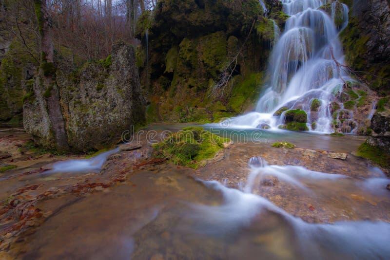 Beautiful waterfalls and mountain stream in Transylvania stock image