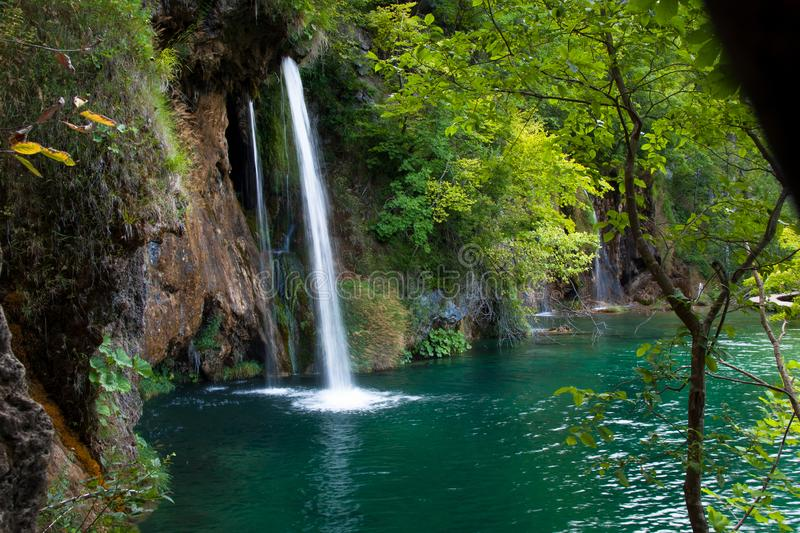 Beautiful Waterfalls, Plitvice Lakes, National Park, Forest, Croatia. Waterfalls in National park of Plitvice Lakes situated in Northern Croatia. Picture was royalty free stock photography