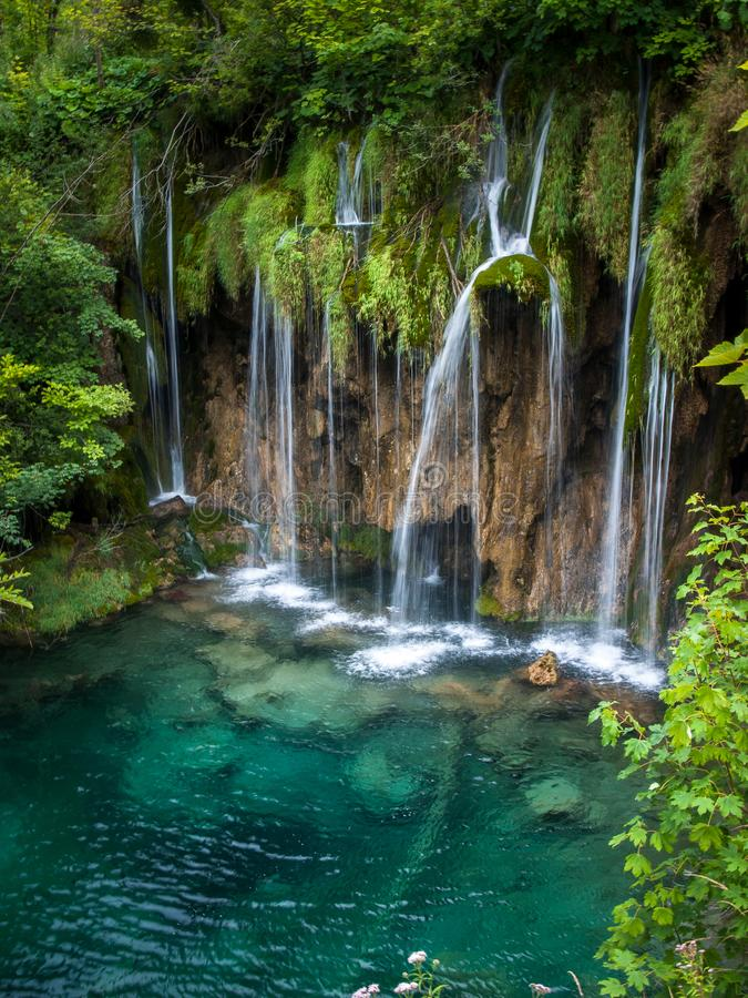 Beautiful Waterfalls, Plitvice Lakes, National Park, Forest, Croatia. Waterfalls in National park of Plitvice Lakes situated in Northern Croatia. Picture was stock photo