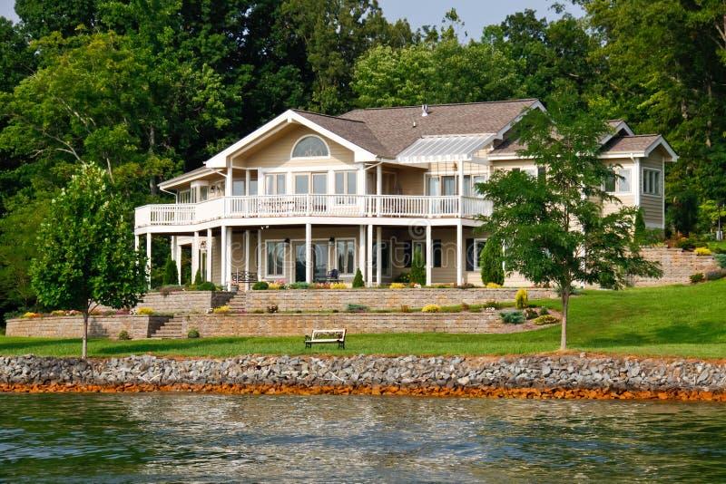 Beautiful Waterfront Home, Smith Mountain Lake stock photo