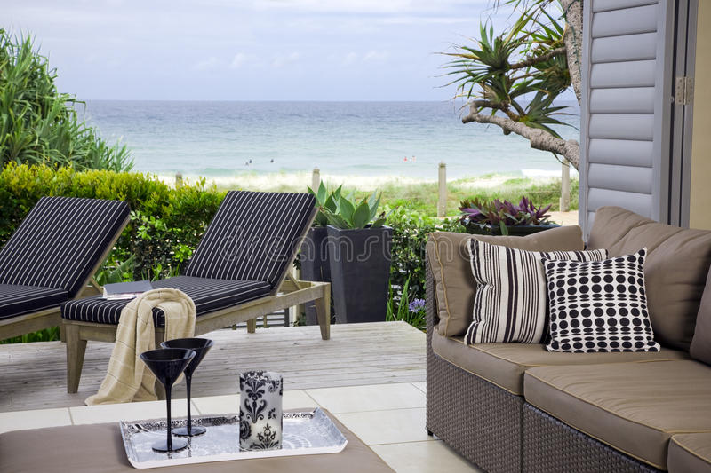 Beautiful waterfront suite with ocean views royalty free stock photo