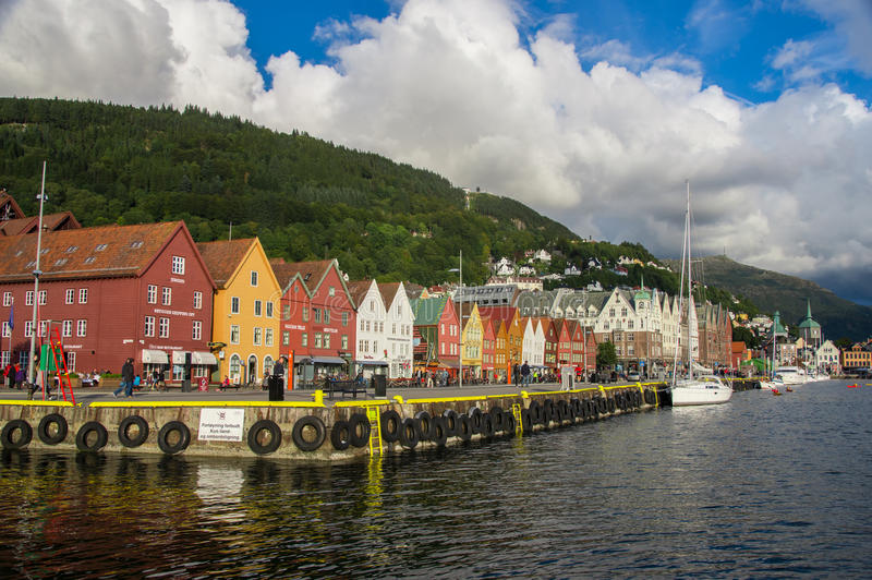 Beautiful waterfront views of Bryggen stock photos