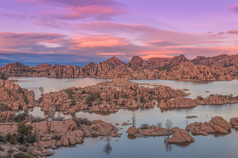 Beautiful Watson Lake Siunset. A colorful sunset on the granite rocks surrounding Watson Lake Prescott Arizona royalty free stock images