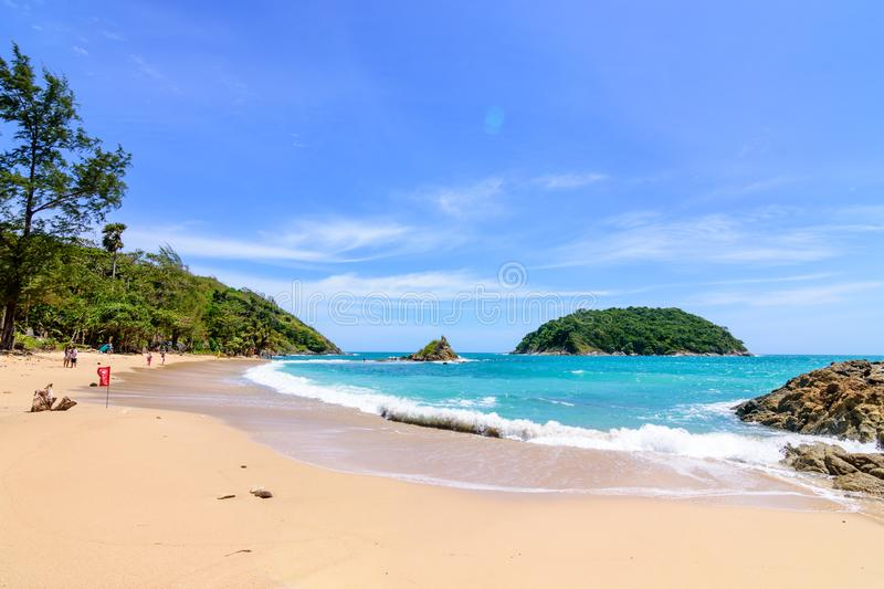 Beautiful wave on the beach, clear water, white sand in your holliday at andaman sea Phuket Thailand. royalty free stock photography
