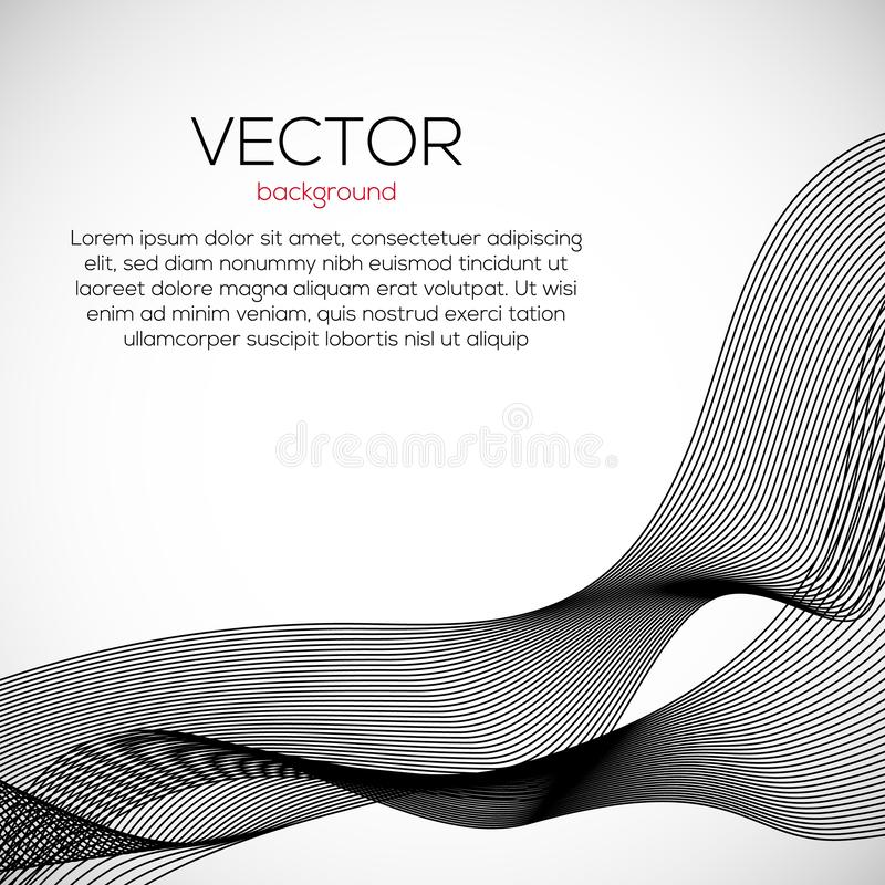 Beautiful wavy abstract background with monochrome lines. Vector motion modern dymamic illustartion. stock illustration