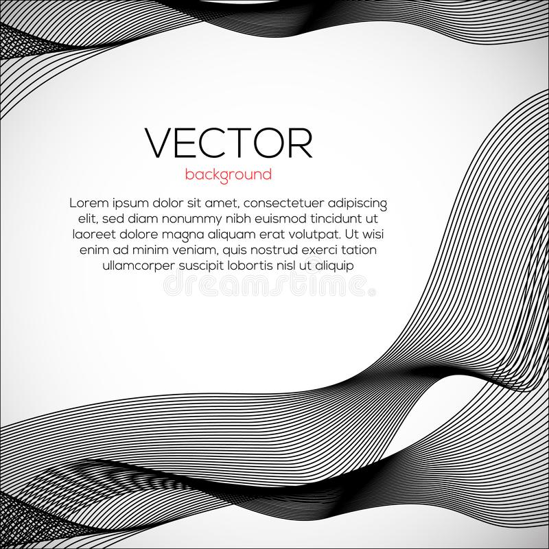 Beautiful wavy abstract background with monochrome lines. Vector motion modern dymamic illustartion. royalty free illustration