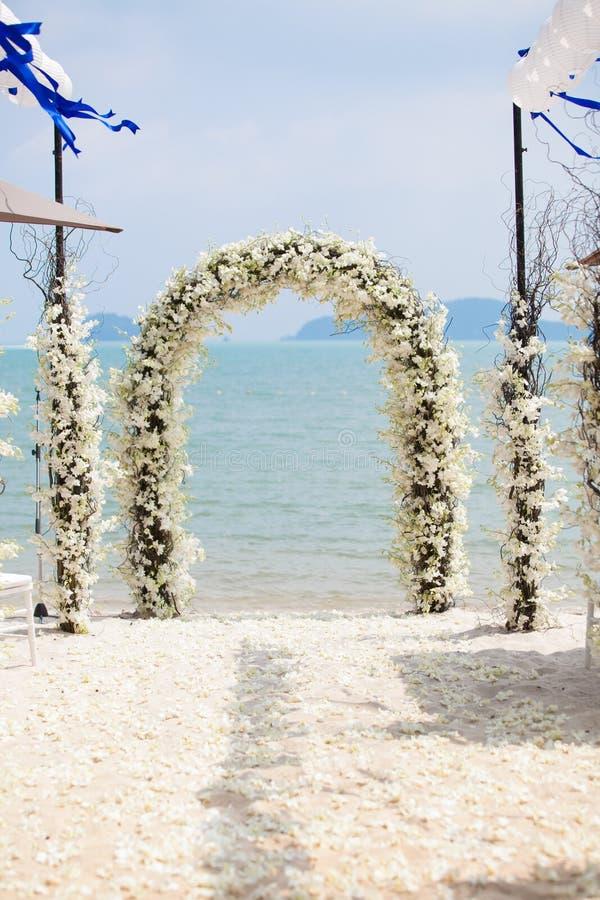 Beautiful wedding arch. Beautiful wedding arch on the beach in Thailand royalty free stock photos