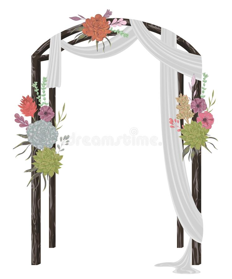 Beautiful wedding arch with succulents, flowers, leaves and branches. Vintage floral design. vector illustration