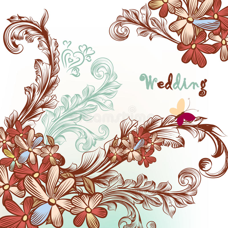 Beautiful wedding background with flowers and swirls vector illustration