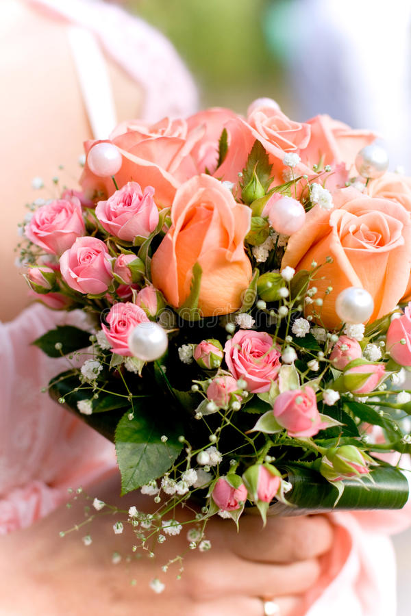 Beautiful wedding bouquet. Pink roses stock image