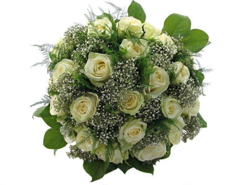 Beautiful wedding bouquet isolated on white. Beautiful wedding bouquet with roses and white flowers isolated on white royalty free stock images