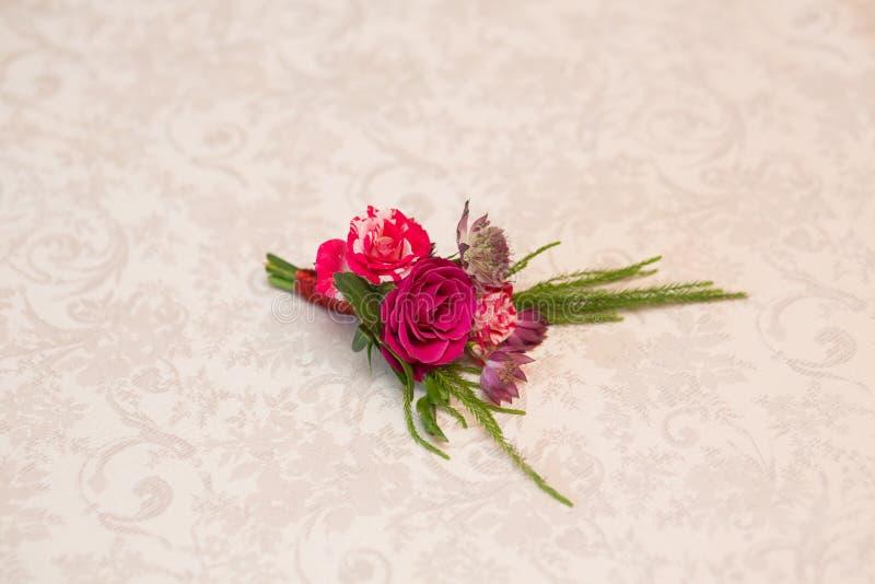 Beautiful wedding boutonniere stock images