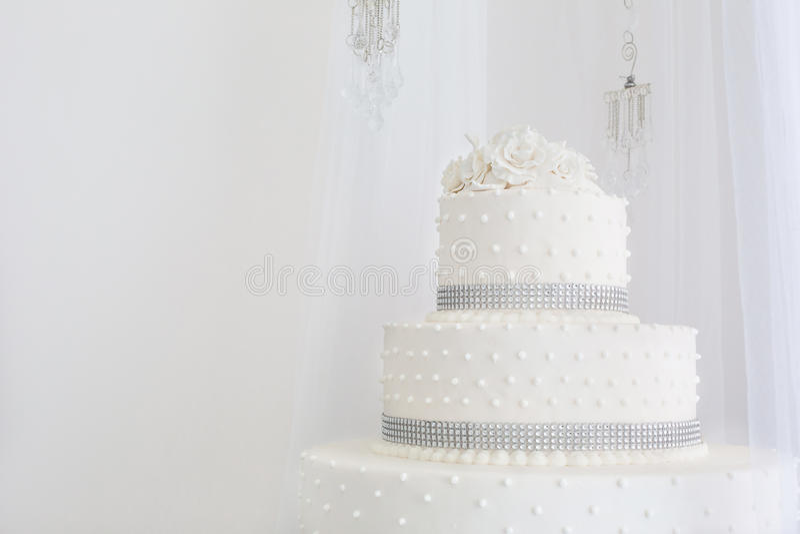Beautiful wedding cake white stock photography