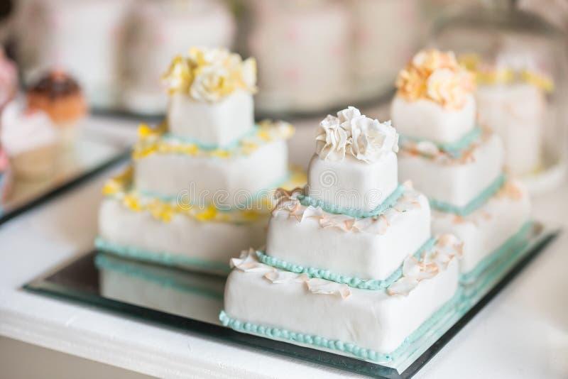Beautiful wedding cake white stock photo