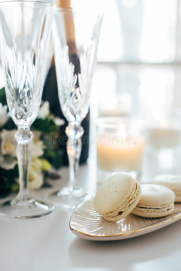 Beautiful wedding decoration with champagne and flowers, elegant royalty free stock photo