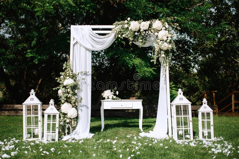 Beautiful wedding decoration set up with flowers. Beautiful wedding decoration set up with flowers stock photos