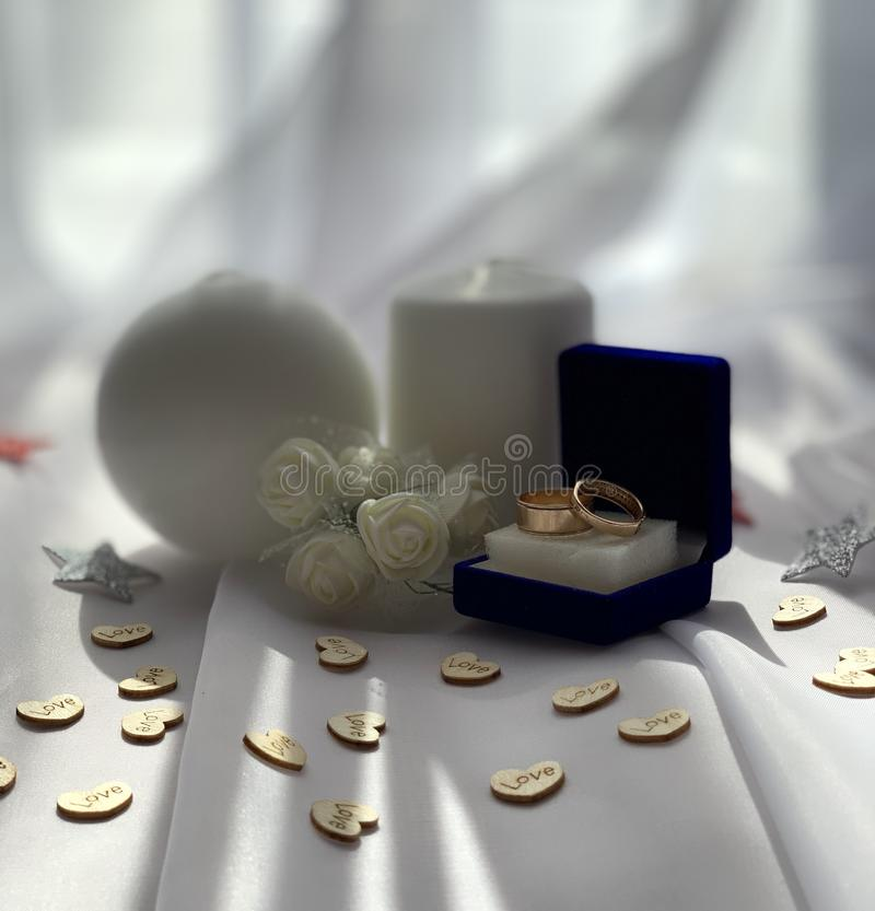 Beautiful wedding decorations. Festive atmosphere with white roses. stock photos